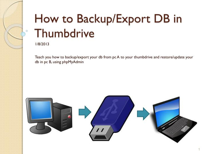 How to backup export db in thumbdrive
