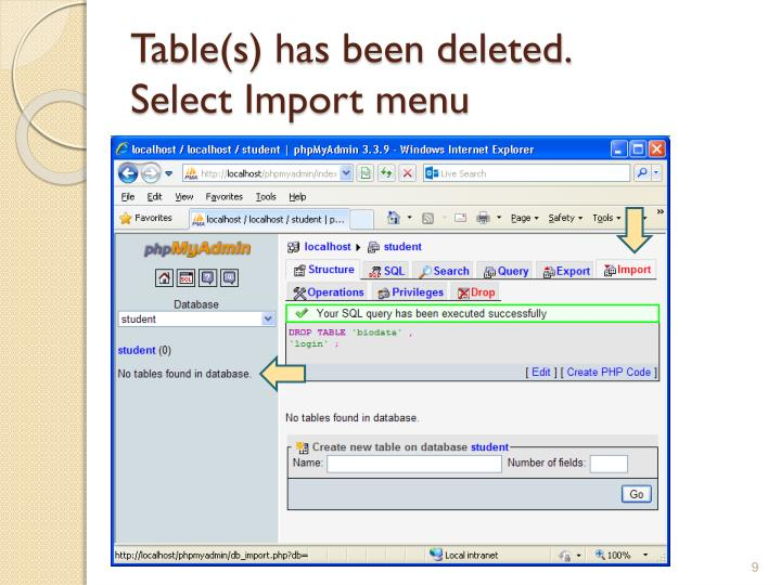 Table(s) has been deleted.