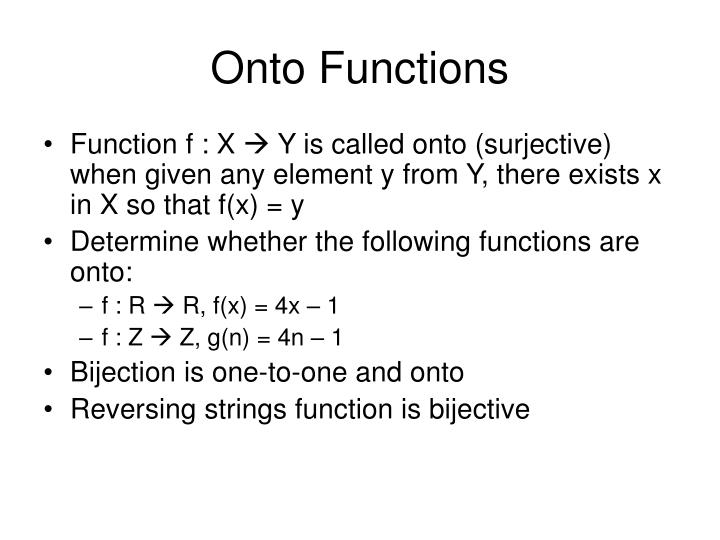 Onto Functions