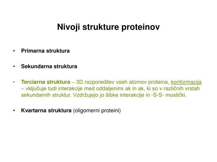 Nivoji strukture proteinov