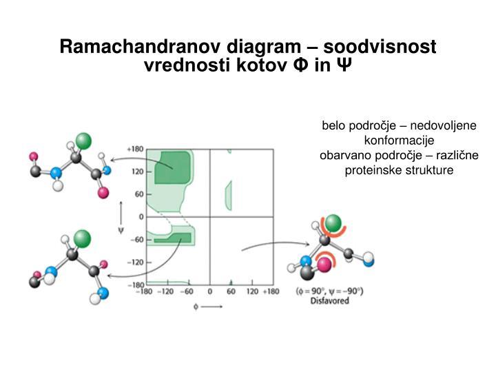 Ramachandranov diagram – soodvisnost vrednosti kotov