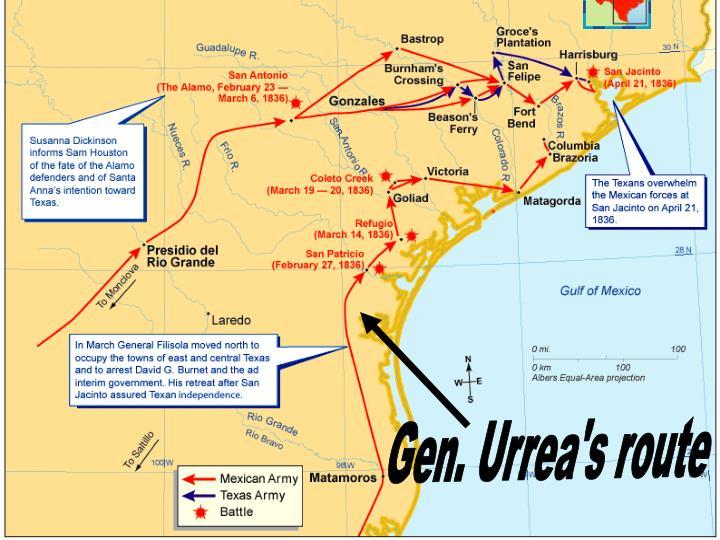 Gen. Urrea's route