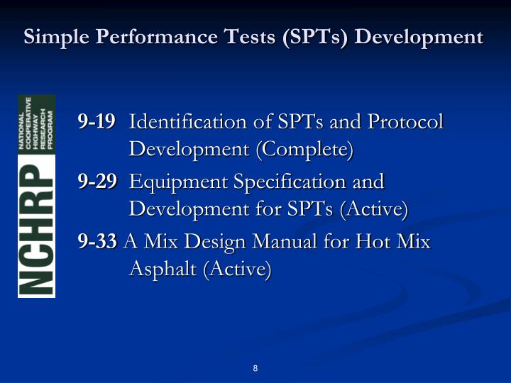 Simple Performance Tests (SPTs) Development