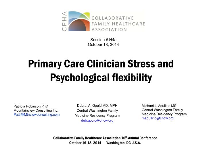 Primary care clinician stress and psychological flexibility