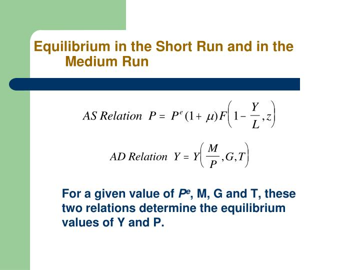 Equilibrium in the Short Run and in the Medium Run
