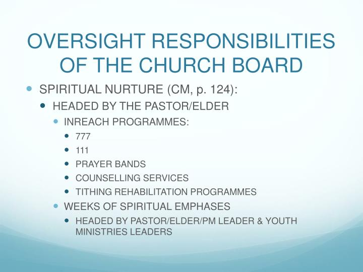 OVERSIGHT RESPONSIBILITIES OF THE CHURCH BOARD
