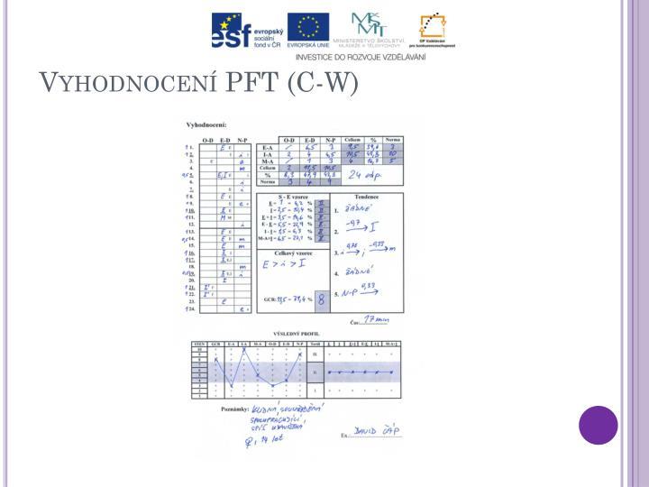 Vyhodnocení PFT (C-W)