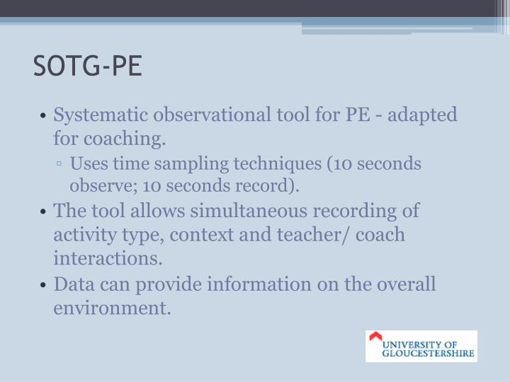 Systematic observational tool for PE - adapted for coaching.