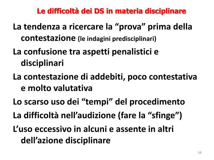 Le difficoltà dei DS in materia disciplinare