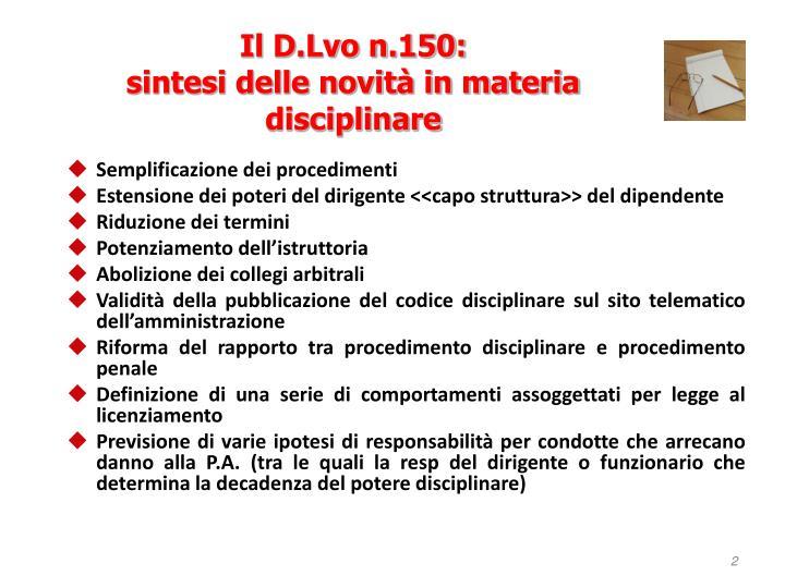Il D.Lvo n.150: