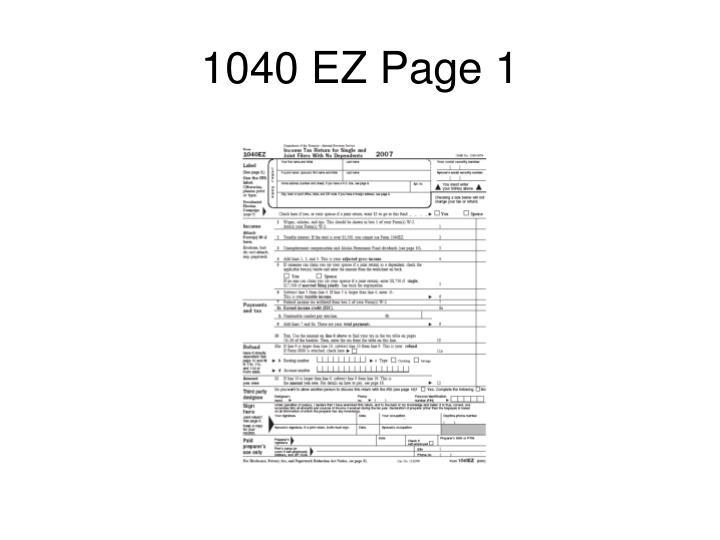 1040 EZ Page 1
