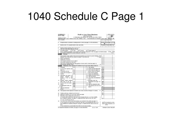 1040 Schedule C Page 1