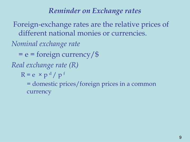 Reminder on Exchange rates