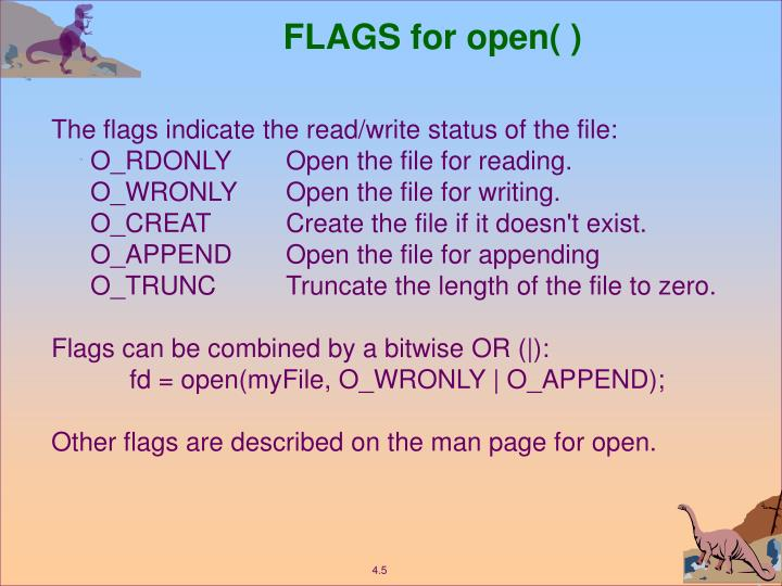FLAGS for open( )