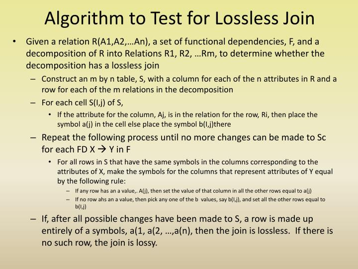 Algorithm to Test for Lossless Join