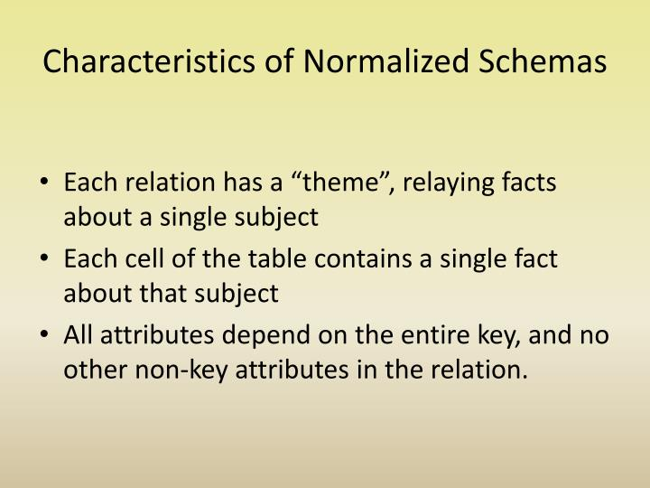 Characteristics of normalized schemas