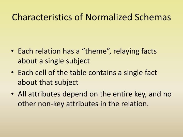 Characteristics of Normalized Schemas