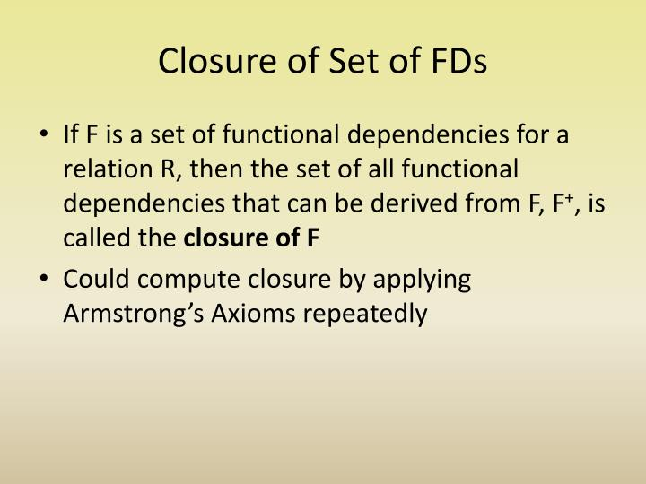 Closure of Set of FDs