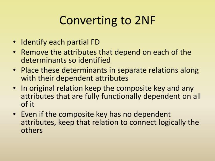 Converting to 2NF