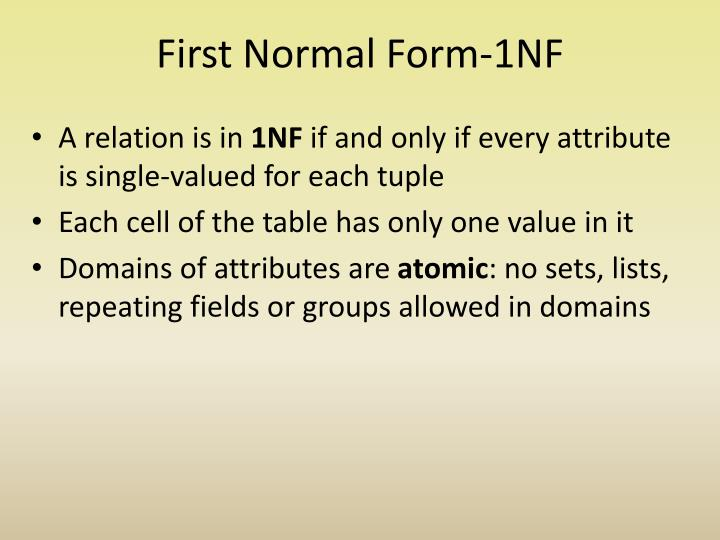 First Normal Form-1NF