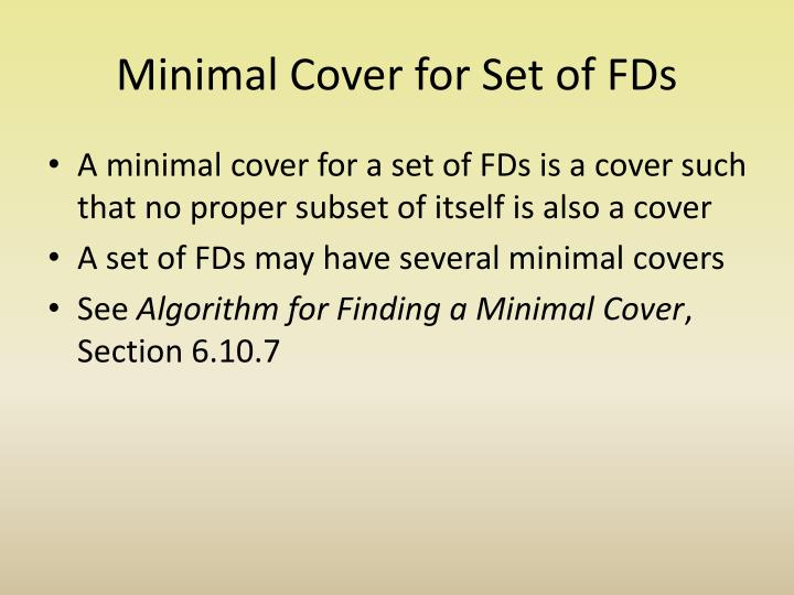 Minimal Cover for Set of FDs