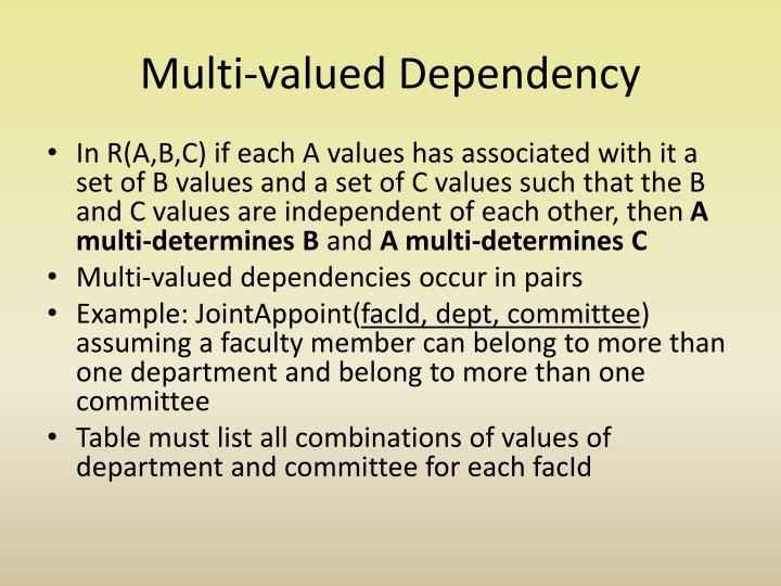 Multi-valued Dependency