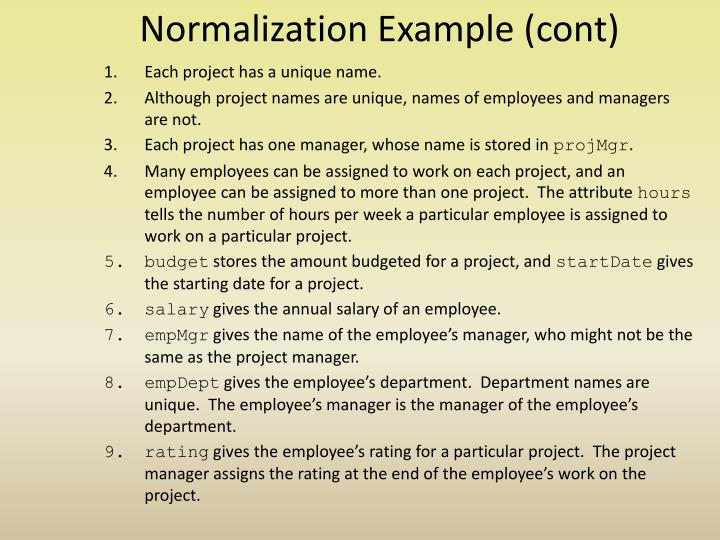 Normalization Example (cont)