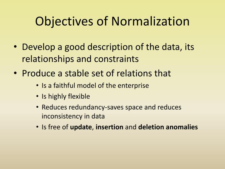 Objectives of normalization