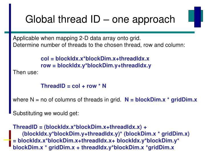Global thread ID – one approach
