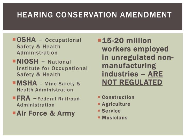 Hearing conservation amendment