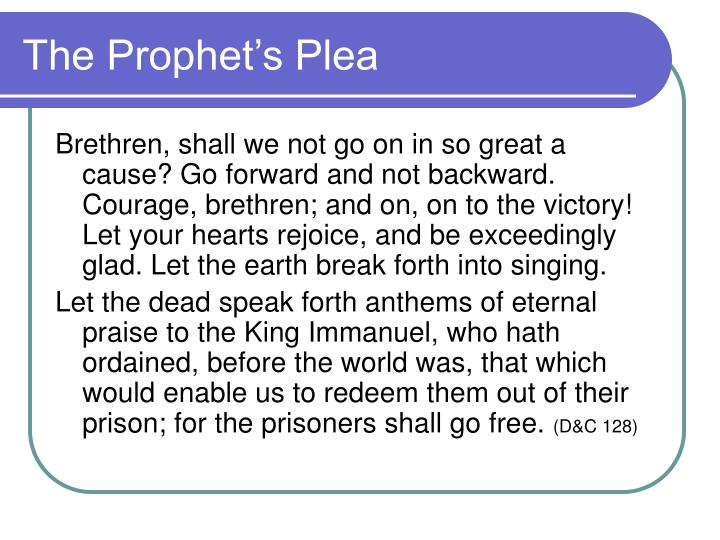 The Prophet's Plea