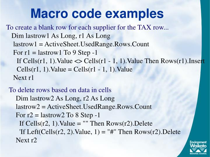 Macro code examples