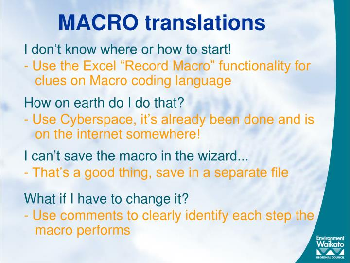 MACRO translations