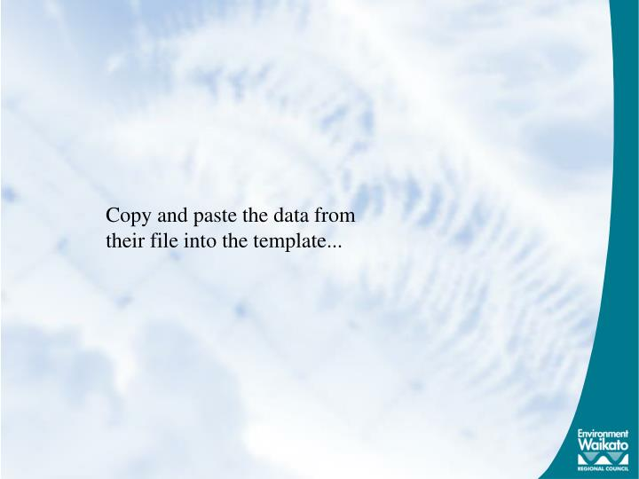 Copy and paste the data from