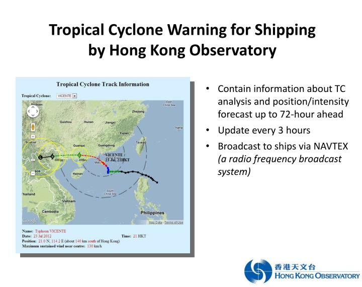 Tropical Cyclone Warning for Shipping