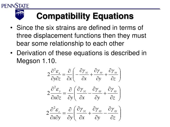 Compatibility Equations