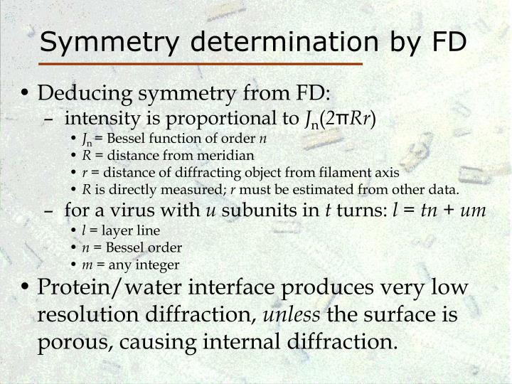 Symmetry determination by FD