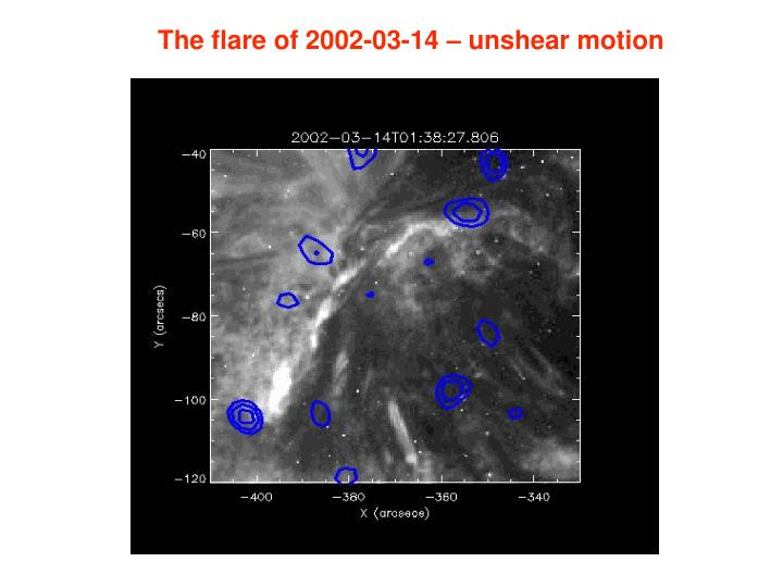 The flare of 2002-03-14 – unshear motion