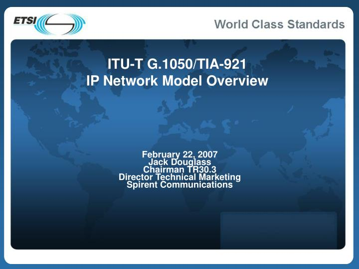 Itu t g 1050 tia 921 ip network model overview