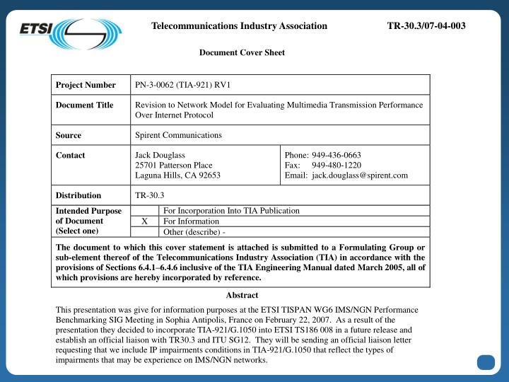Telecommunications Industry Association	TR-30.3/07-04-003