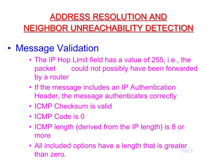ADDRESS RESOLUTION AND