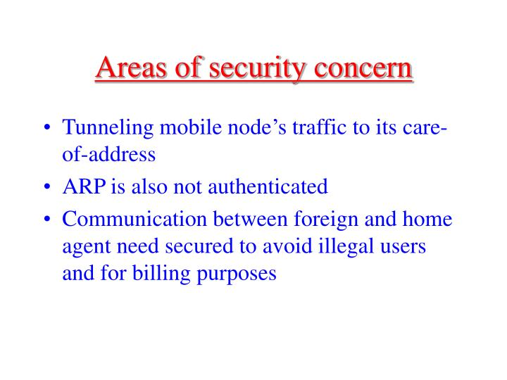 Areas of security concern