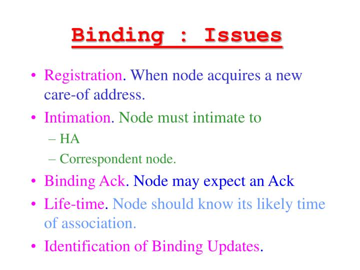 Binding : Issues