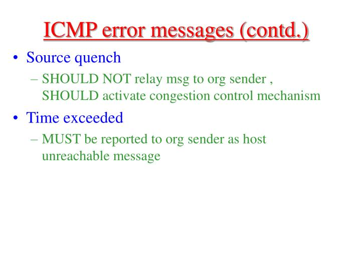 ICMP error messages (contd.)