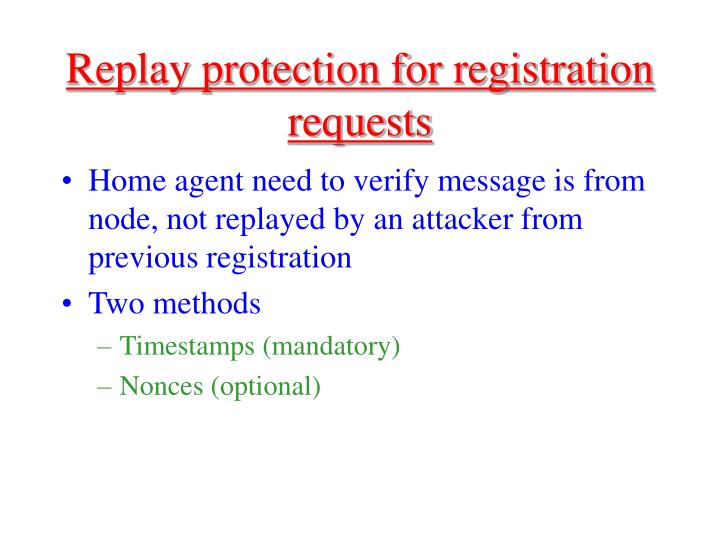 Replay protection for registration requests