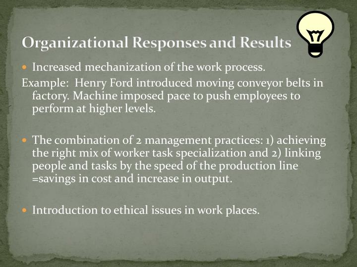 Organizational Responses and Results