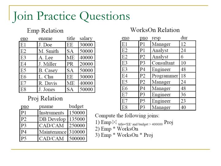 Join Practice Questions