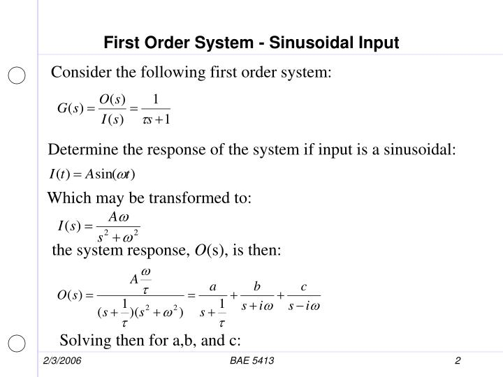 First order system sinusoidal input