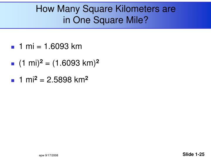 How Many Square Kilometers are in One Square Mile?