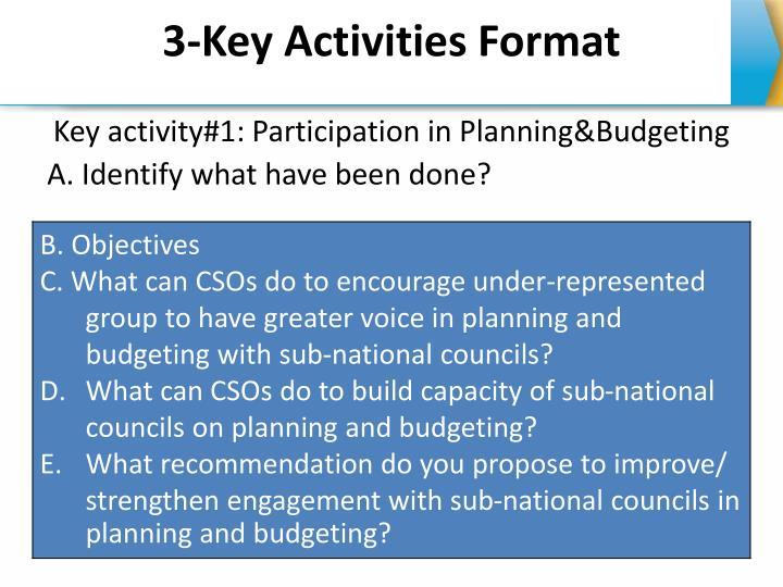 3-Key Activities Format